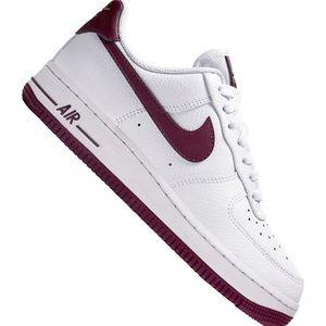 White and burgundy Nike Air Force